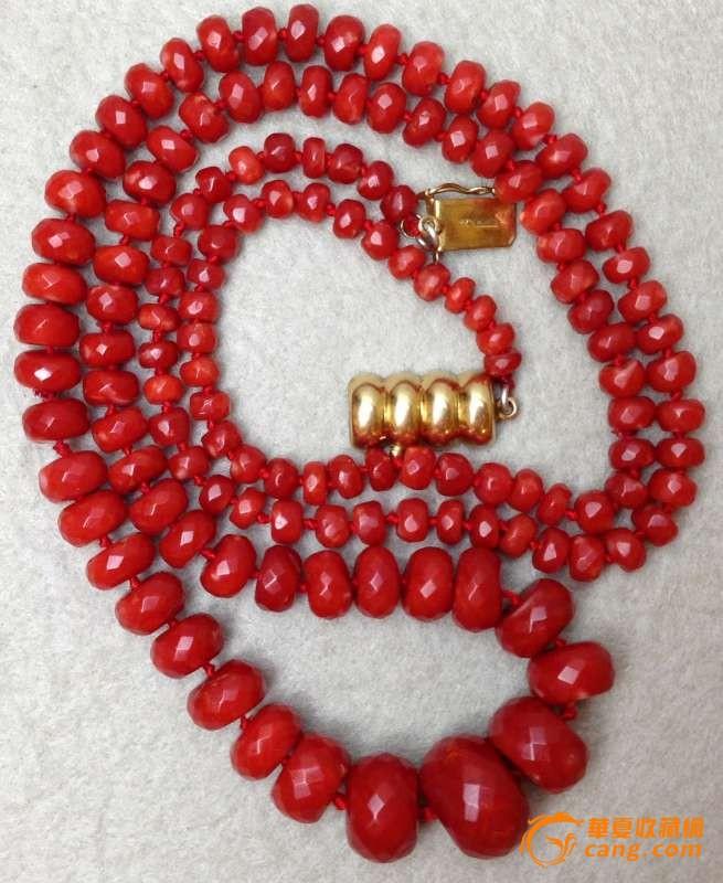 75克重18K金扣-百年珠宝刻面天然阿卡AKA牛血红珊瑚项链图7