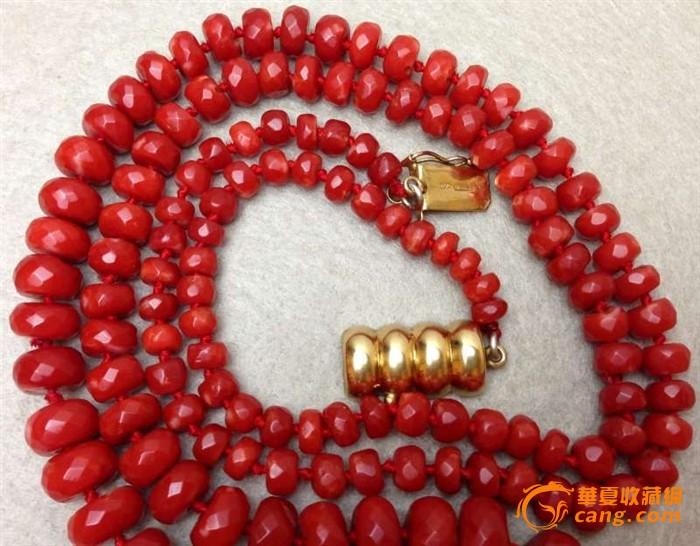 75克重18K金扣-百年珠宝刻面天然阿卡AKA牛血红珊瑚项链图8