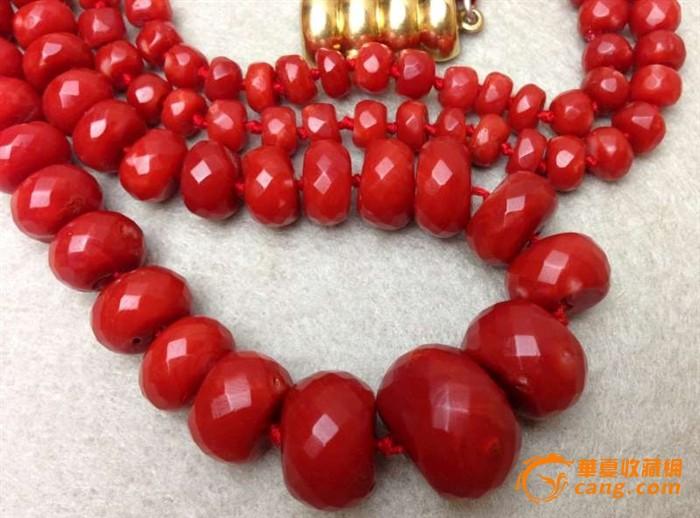 75克重18K金扣-百年珠宝刻面天然阿卡AKA牛血红珊瑚项链图9