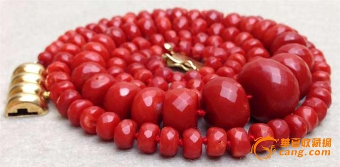 75克重18K金扣-百年珠宝刻面天然阿卡AKA牛血红珊瑚项链图5
