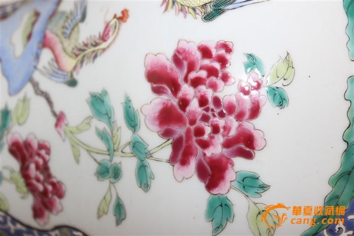 【全品45公分官窑品质大型】蓝底缠枝花卉地开窗凤凰牡丹粉彩将军罐