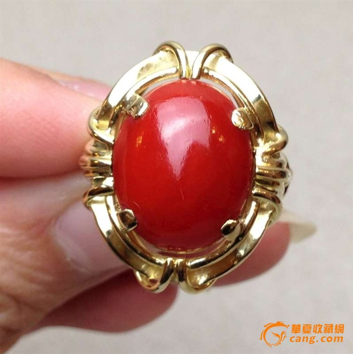 14k金镶嵌日本阿卡aka牛血红珊瑚戒指